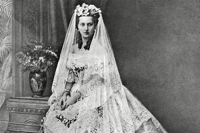 Queen Alexandra Formerly Princess Alexandra of Denmark (1844 - 1925) and Then Princess of Wales Consort of King Edward Vii Pictured in Her Wedding Gown For Her Marriage to Albert Edward Prince of Wales On 10 March 1863 at St George's Chapel Windsor 1863