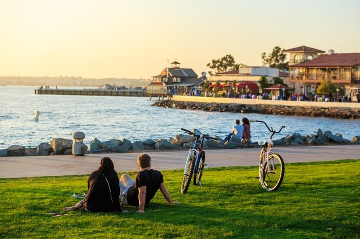 Sunset at San Diego Waterfront Public Park, Marina and the San Diego Skyline. California, United States.