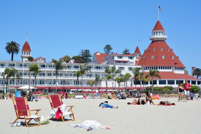 """SAN DIEGO CA USA APRIL 8 2015: Victorian Hotel del Coronado in San Diego, USA. In the hotel was filmed famous comedy """"Some like it hot"""", which starred Marilyn Monroe."""