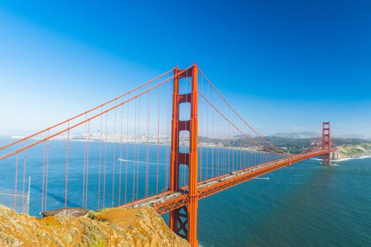 View at Golden Gate Bridge which spans Golden Gate strait at San Francisco Bay. California, USA