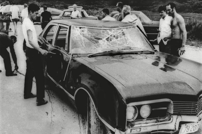 SEN. EDWARD KENNEDY'S CAR RECOVERED FROM WATER Curious onlookers inspect Sen. Ted Kennedy's car in July 1969. Mary Jo Kopechne was killed after Kennedy drove the car off Dyke Bridge on Chappaquiddick Island, Mass. on