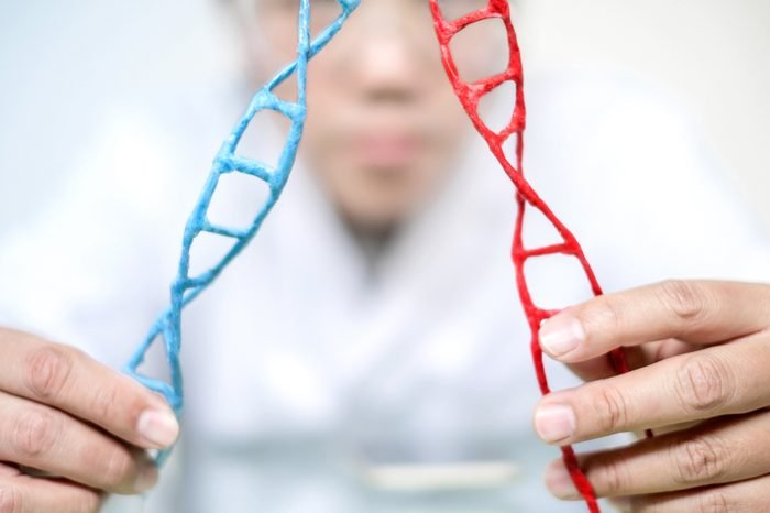Scientist analyse DNA molecule in a laboratory on genetic engineering and gene manipulation technology