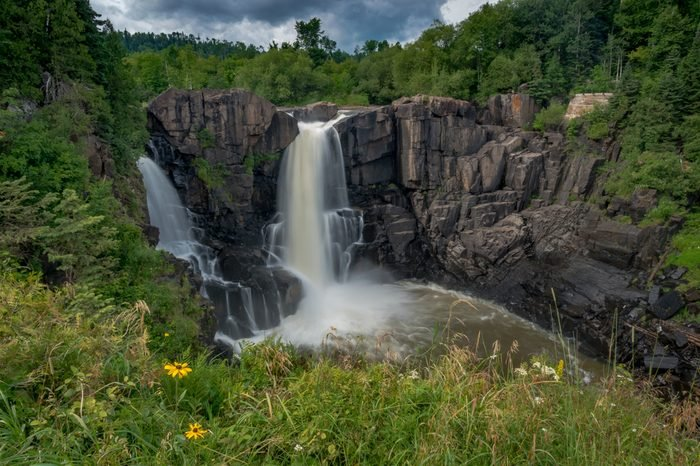 Grand Portage ParkTorrents of water plummet 120 feet over the High Falls on the Pigeon River at the U.S. - Canadian border Minnesota.