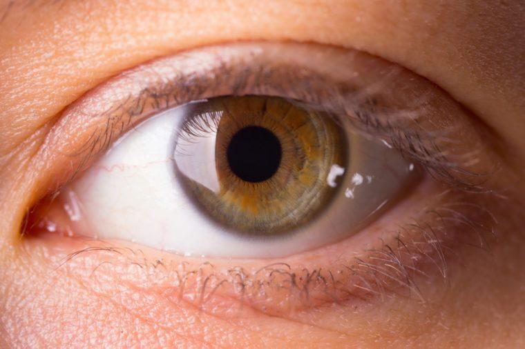 Human eye close-up. dark green human eye