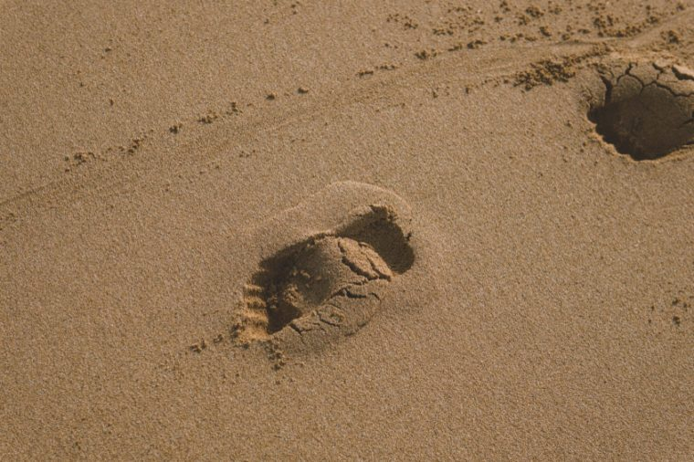 footprints in the sand close-up. walk along the ocean shore alone