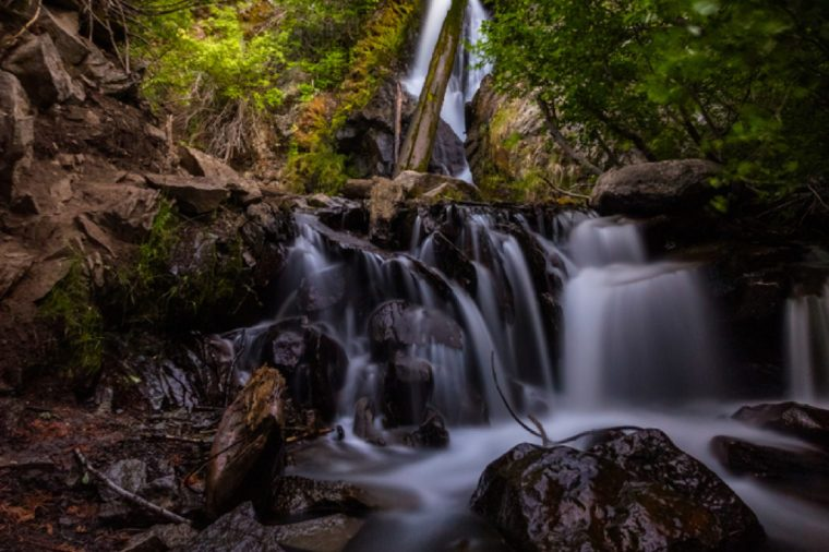 Long exposure of Hunter Creek waterfall just outside Reno and Verdi, Nevada