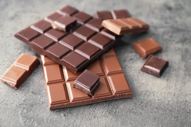 Dark and milk chocolate on grey background