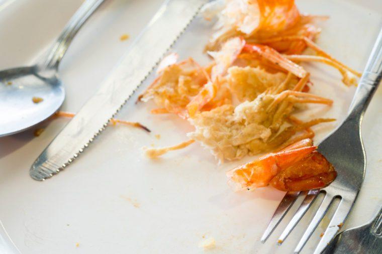 plate of food after eating shrimp