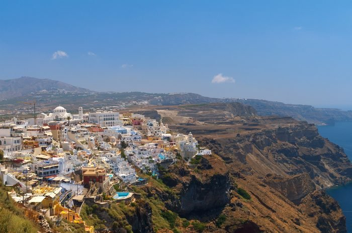 Aerial view to the amazing Thira. Santorini, Greece.