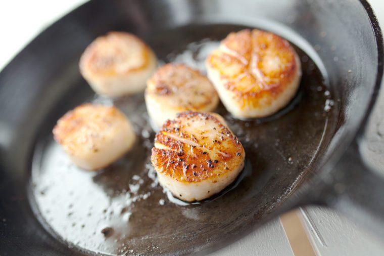 Seared Scallops in Cast Iron Pan
