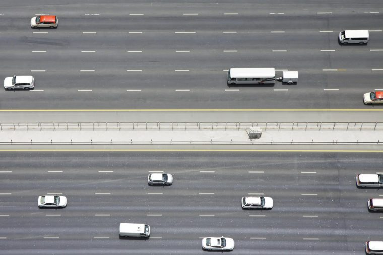 Overhead view of transport on Sheikh Zayed Road, Dubai, United Arab Emirates