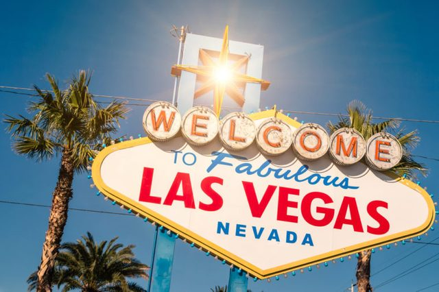 """"""" Welcome to Fabulous Las Vegas """" sign on a bright sunny day"""