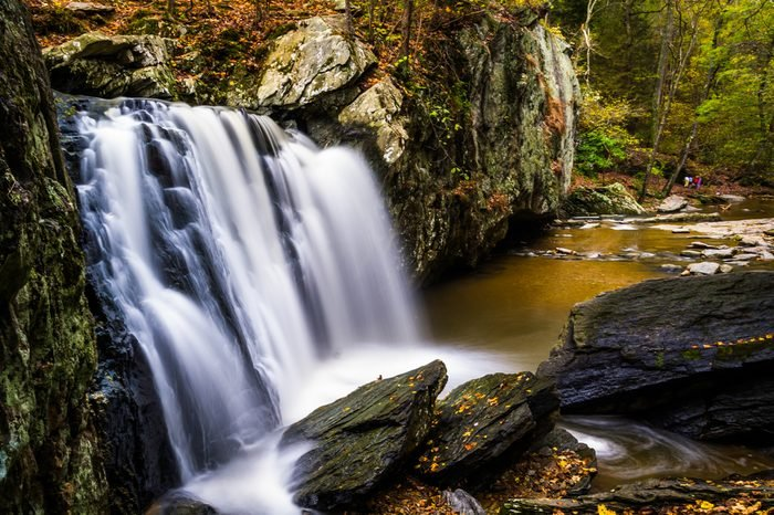 Early autumn color at Kilgore Falls, at Rocks State Park, Maryland.