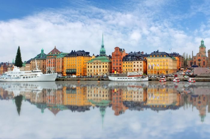 Scenic panorama of the Old Town (Gamla Stan) pier architecture in Stockholm, Sweden