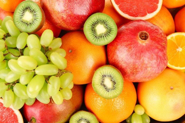 Assortment of fruits close-up