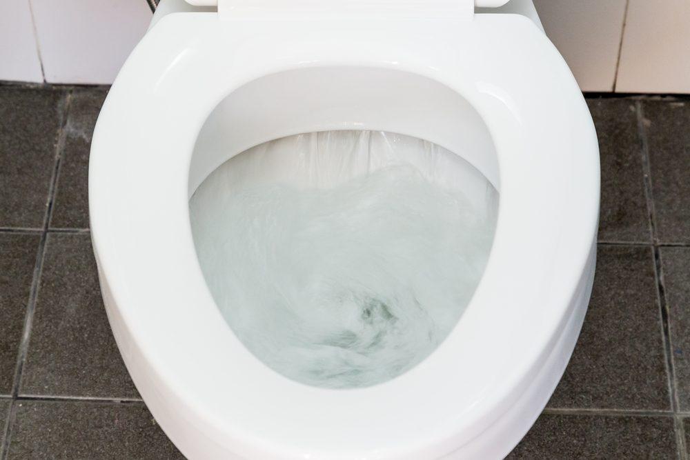Toilet Flushing Water close up