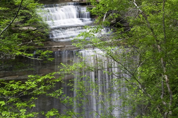 Big Clifty Falls a 60 foot waterfalls in Clifty Falls State Park located near Madison Indiana USA