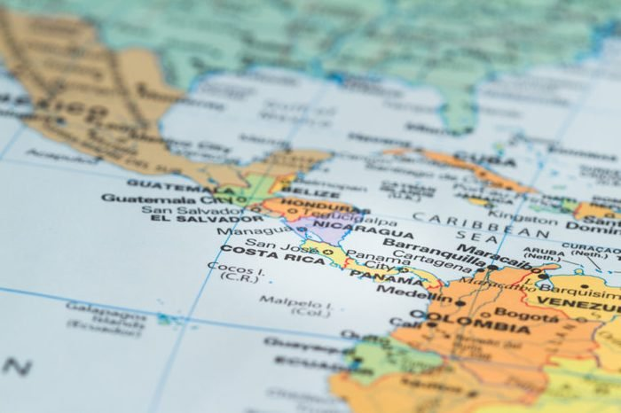 close up of the central america area with Costa Rica in sharp focus