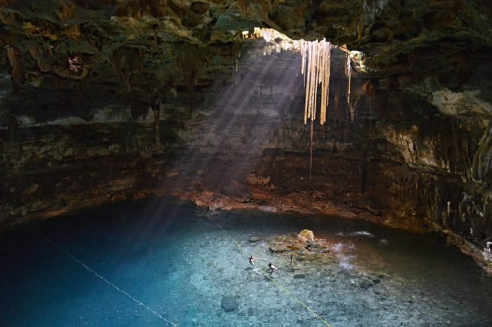 Cenote Samula is 7 km from center of town Valladolid in Yucatan peninsula, Mexico.