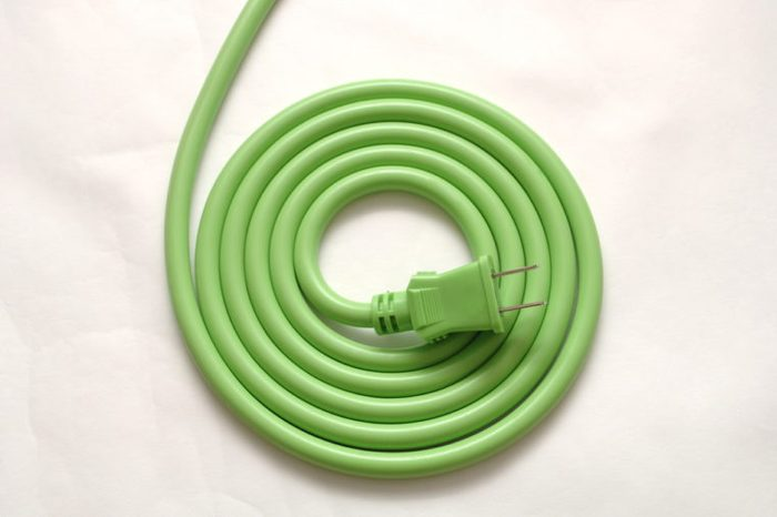 A green electric cord.