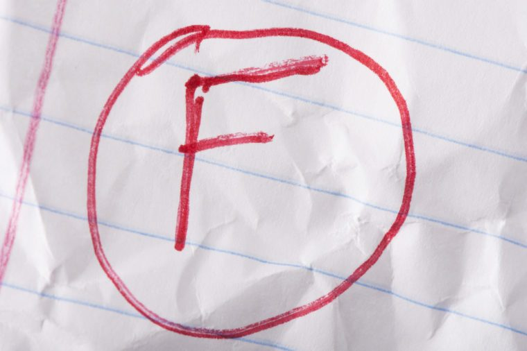 """F"" grade written in red pen on wrinkled notebook paper."