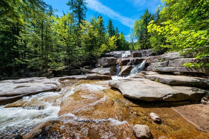 Diana's Baths, a series of small waterfalls in the White Mountains of New Hampshire, United States.