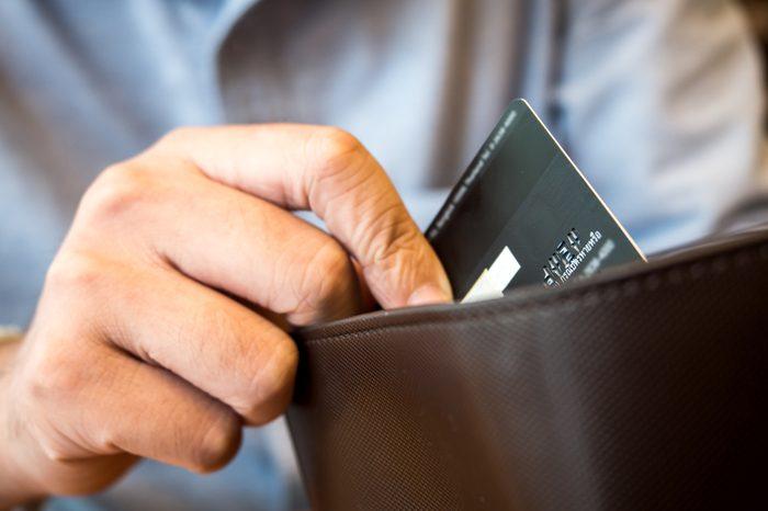 credit card in wallet.