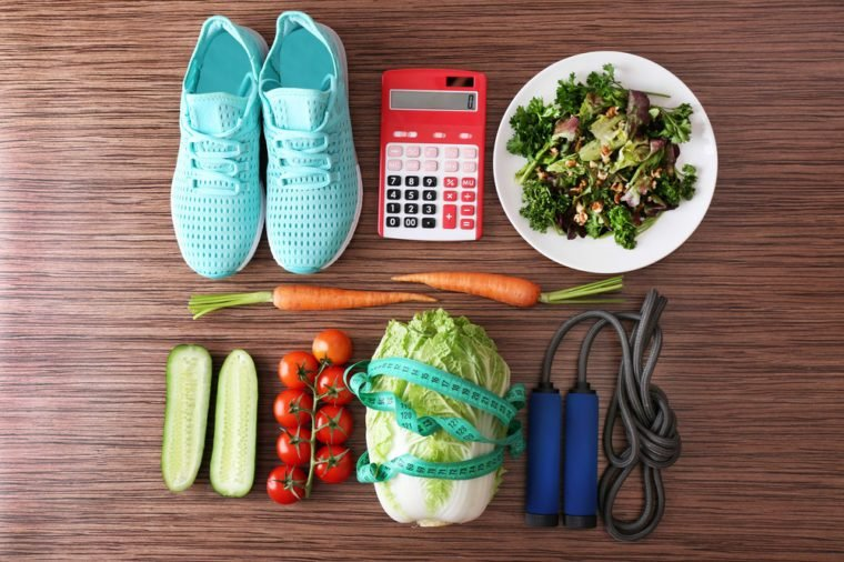 Workout and fitness dieting. Planning control diet concept