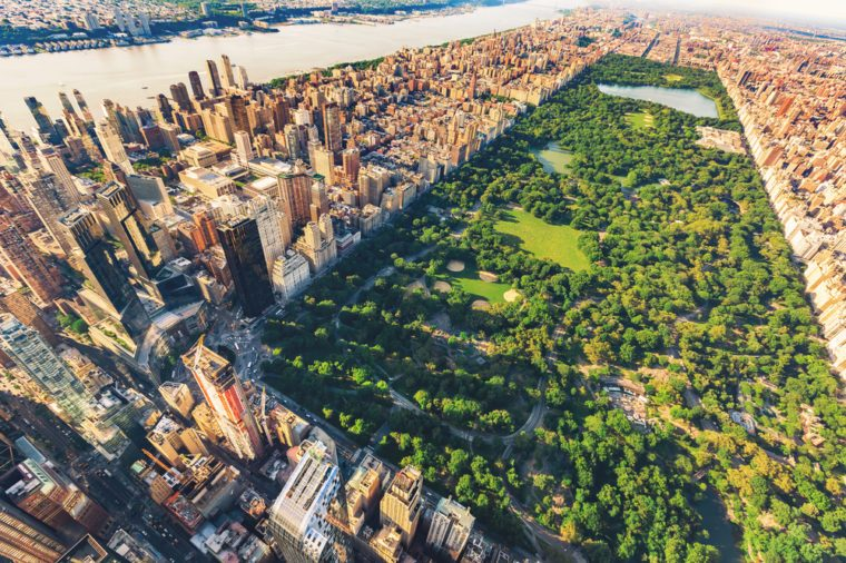 Aerial view of Manhattan New York looking north up Central Park