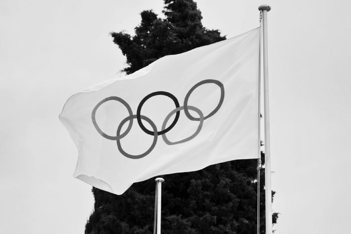 LAUSANNE SEPTEMBER, 19: Olympic flag at Olympic museum in Switzerland in September 19, 2016. The symbol of the Olympic Games was originally designed in 1912 by Baron Pierre de Coubertin.