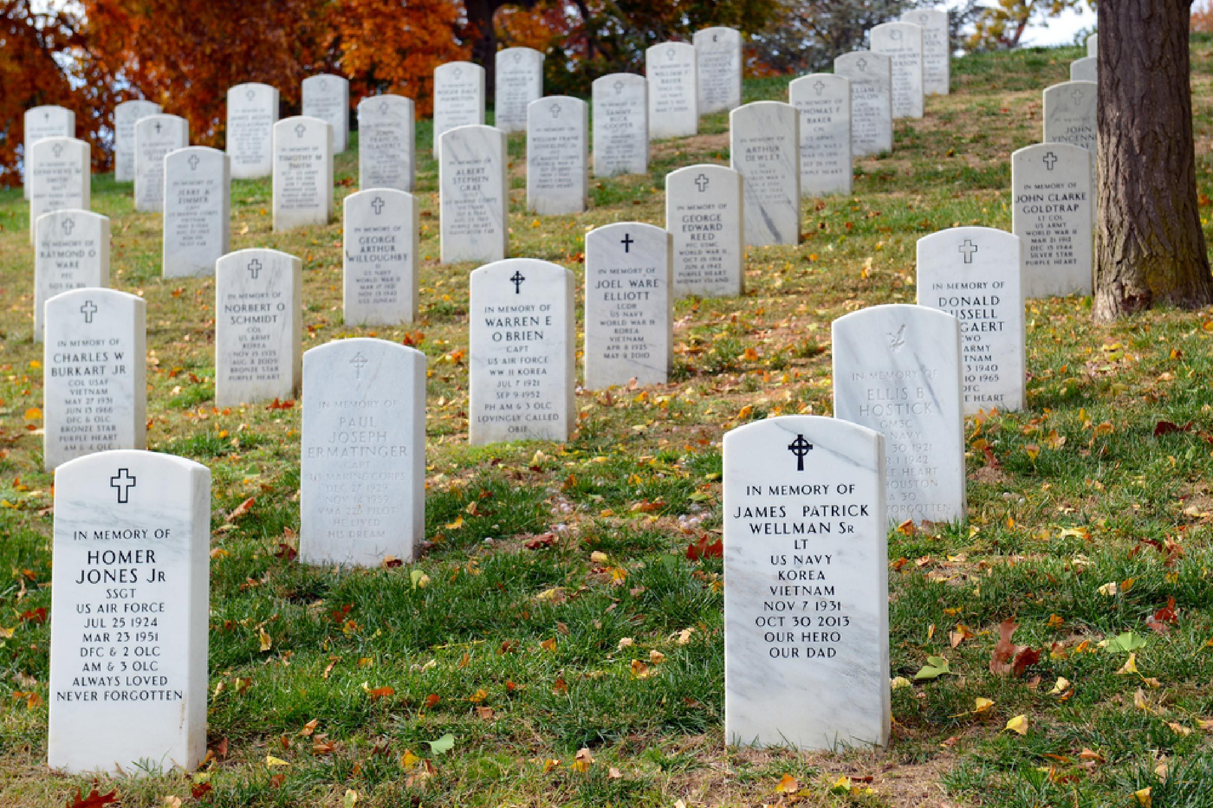 WASHINGTON DC NOVEMBER 11 2016. Tombstones at Arlington National Cemetery represent the courage and bravery of the soldiers that fought and gave their lives for the freedom that America enjoys today.