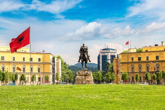 Skanderbeg square and Skanderbeg monument in Tirana in a beautiful summer day, Albania