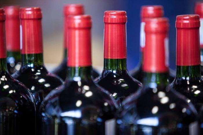 Close-up of wine bottles in supermarket