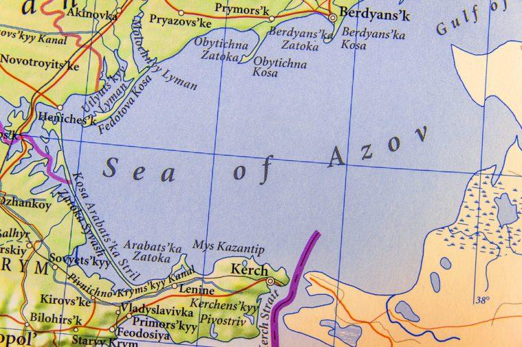 Geographic map of European Sea of Azov close