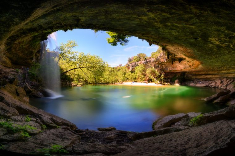 Hamilton Pool, water fall, in Austin recreation are. Texas, USA