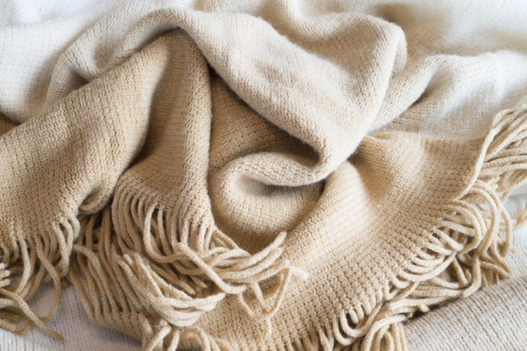 Soft Neutral Fabric Blanket Pile Background