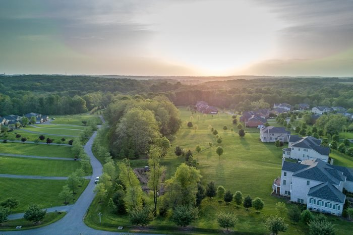 maryland country houses aerial view panorama landscape at sunset
