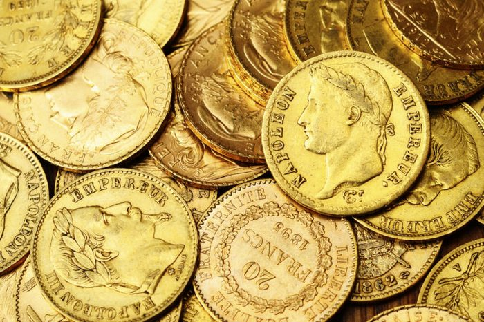 Gold coins background : france napoleon gold coins