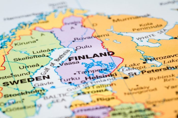 Scandinavia on a world map with Finland in focus