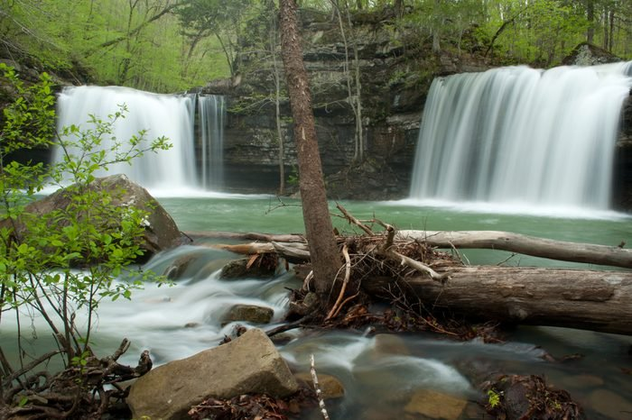 Twin falls at Richland Creek Wilderness Area deep inside the Ozark National Forest.