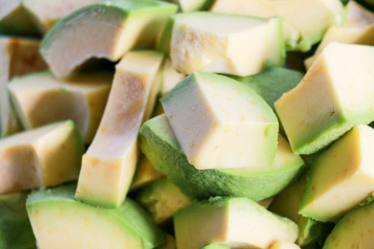 Close up avocado sliced, fruit is delicious and has little cholesterol, has nutrients that are beneficial to the body and lose weight, productivity of farmers in the countryside