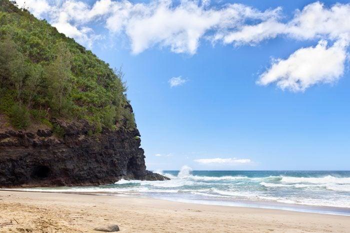 Hanakapiai Beach, one of the worlds most dangerous beaches at the Na Pali Coast in Kauai, Hawaii.