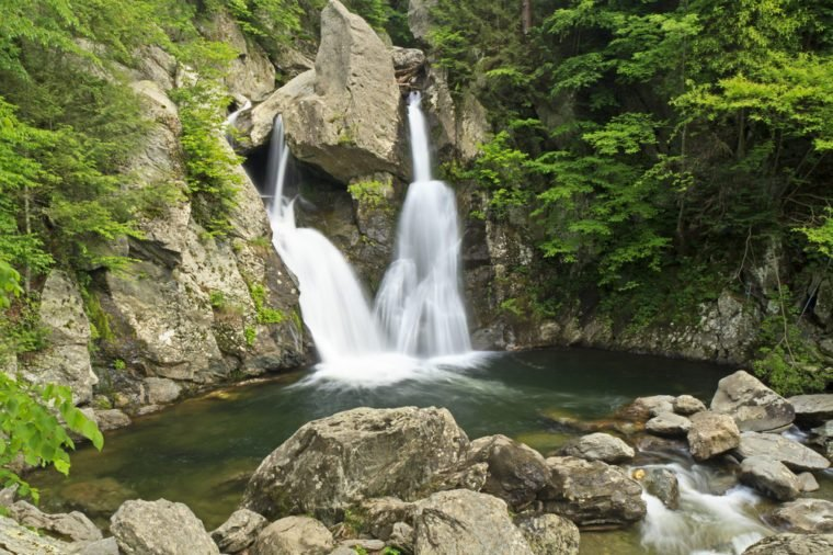 Bash Bish Falls into a green pool - a popular summer swimming hole in the Berkshires, and the tallest waterfalls in Massachusetts.