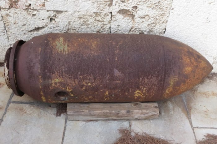 unexploded American air-to-ground bomb dating back to World War II found in Cagliari, Italy