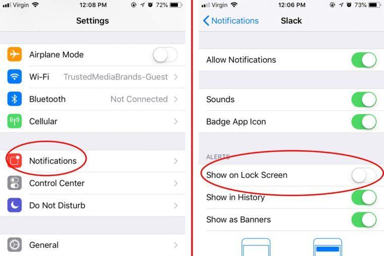 turn off lock screen view