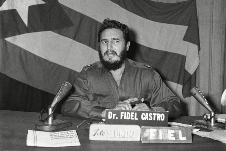 Fidel Castro Fidel Castro bearded Prime Minister tells Cuban people in television and radio speech criticism by Eisenhower and Herter premediated to help form internal front against his regime on in Havana, Cuba