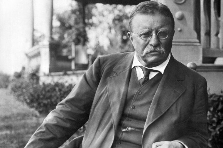 Cove Neck, New York: c. 1907 President Theodore Roosevelt seated in a chair outside his Sagamore Hill home on Long Island.
