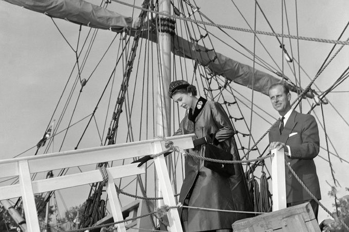 Elizabeth Philip Queen Elizabeth II and Prince Philip of Great Britain leave a ship tied at wayside in Festival Park, Jamestown, Va., during their tour of historic Jamestown. The ship, the Susan Constant, is a replica of one of the three ships which brought English settlers to the U.S. 350 years ago