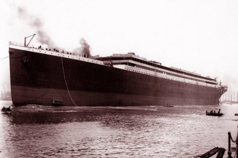 Photograph of the launch of the Titanic, prior to being fitted out. Belfast. Dated 1911 (Photo by: Universal History Archive/UIG via Getty images).