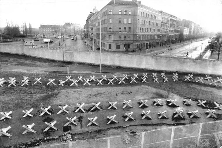 The Berlin Wall Seen From Bernauauer Street In The French Sector.